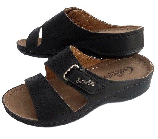 Дамски черни чехли Lorin шити и лепени